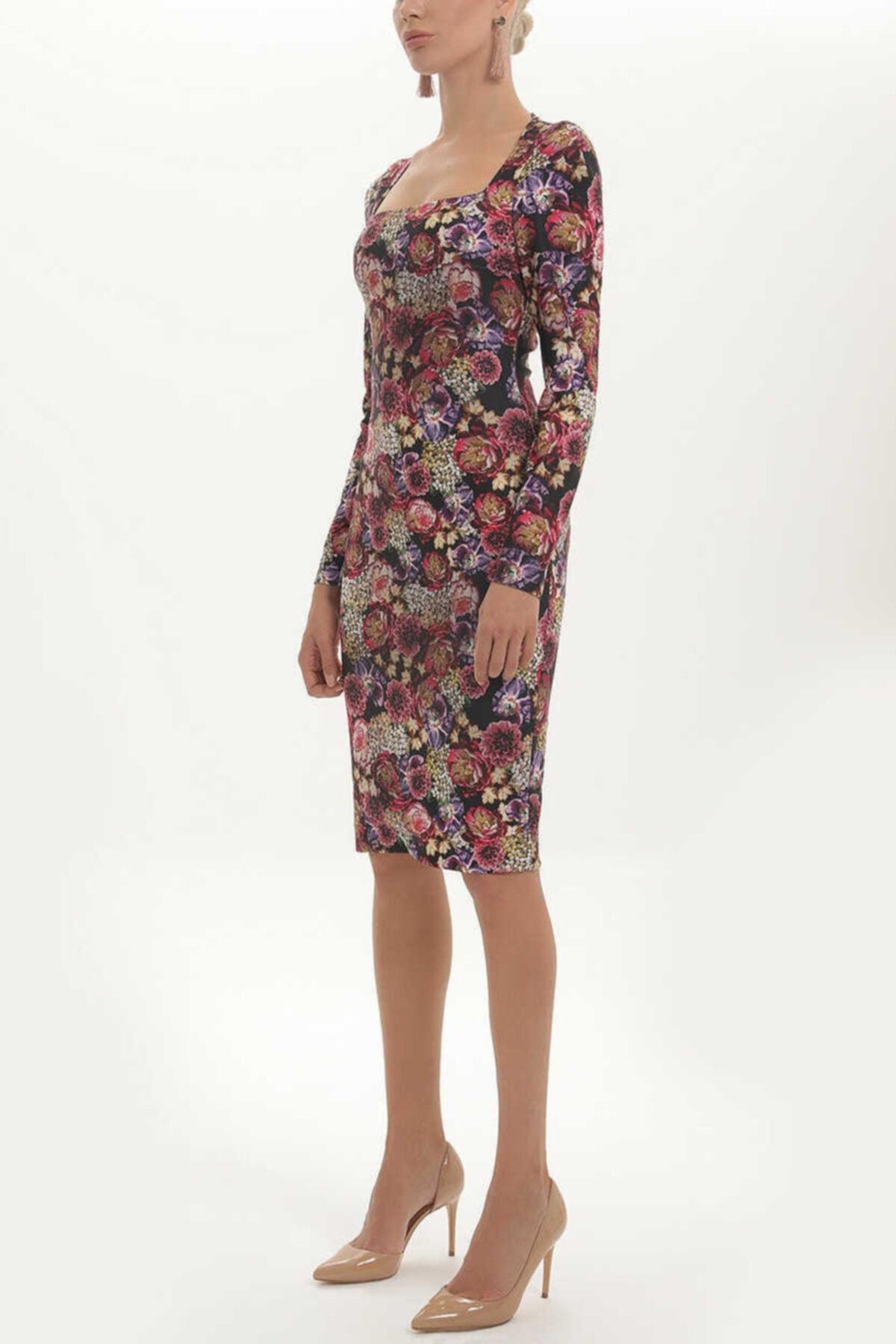 SOCIETA - Baskılı Örme Elbise 91409 Siyah 1