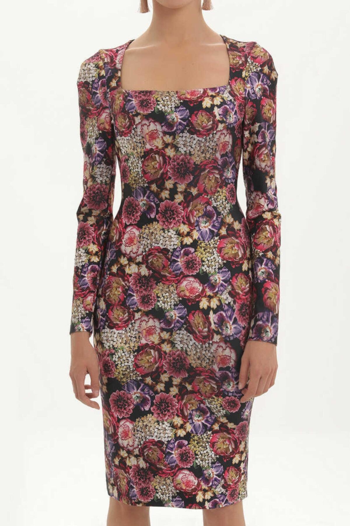 SOCIETA - Baskılı Örme Elbise 91409 Siyah 2