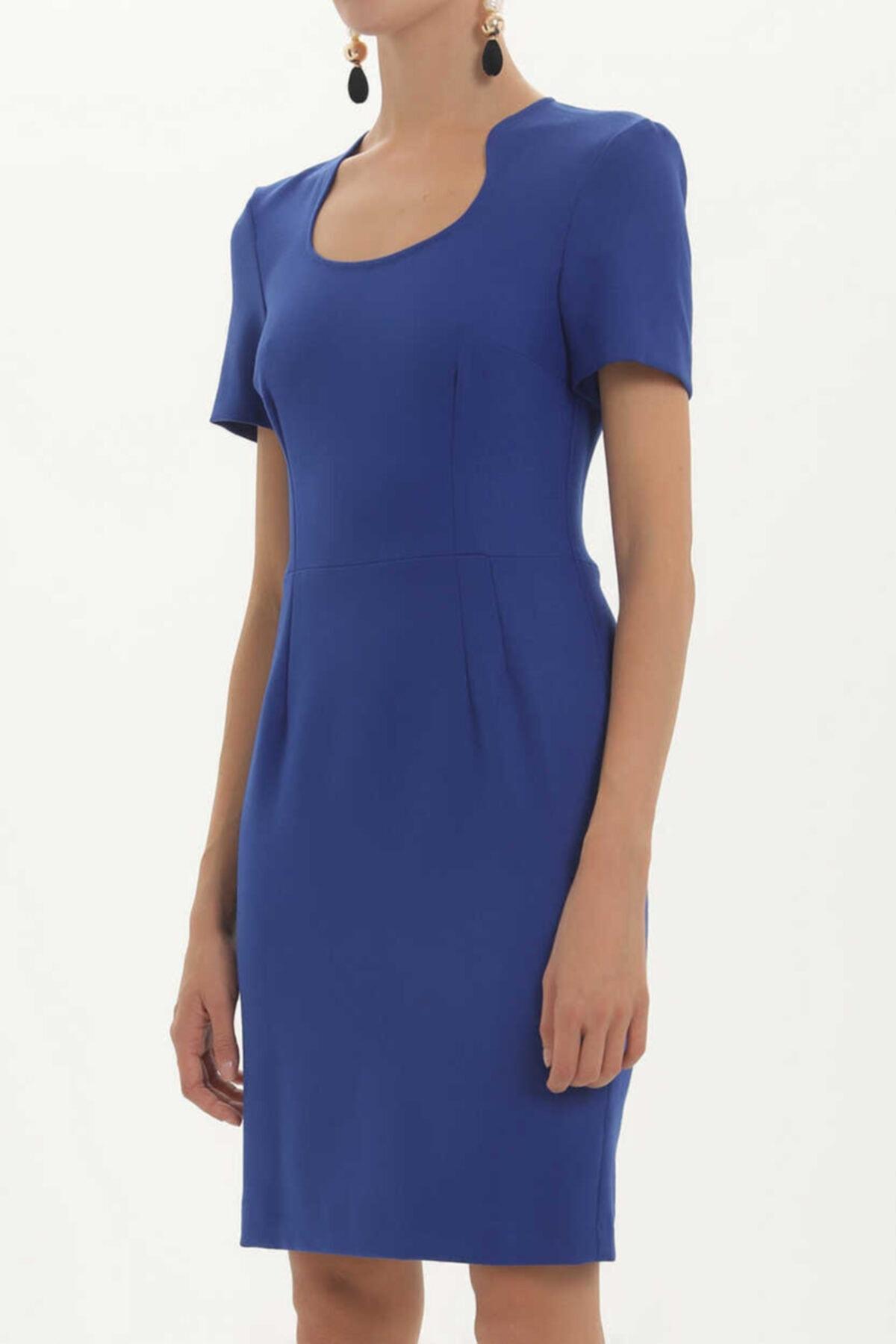 SOCIETA - Dar Kesim Likralı Elbise 91438 Gece Mavisi 2