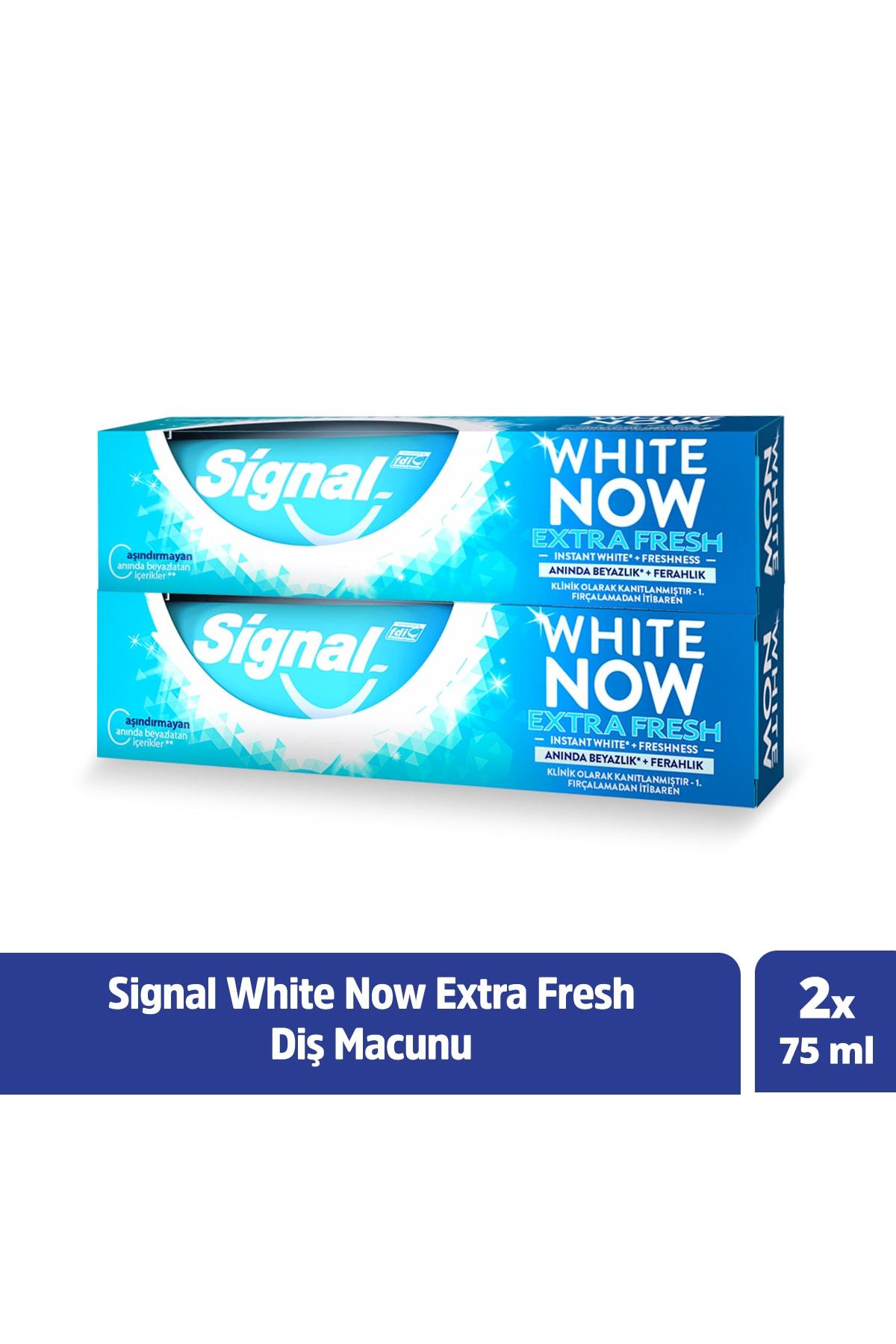Signal White Now Extra Fresh Anında Beyazlık + Ferahlık Diş Macunu 75 ml X2 1