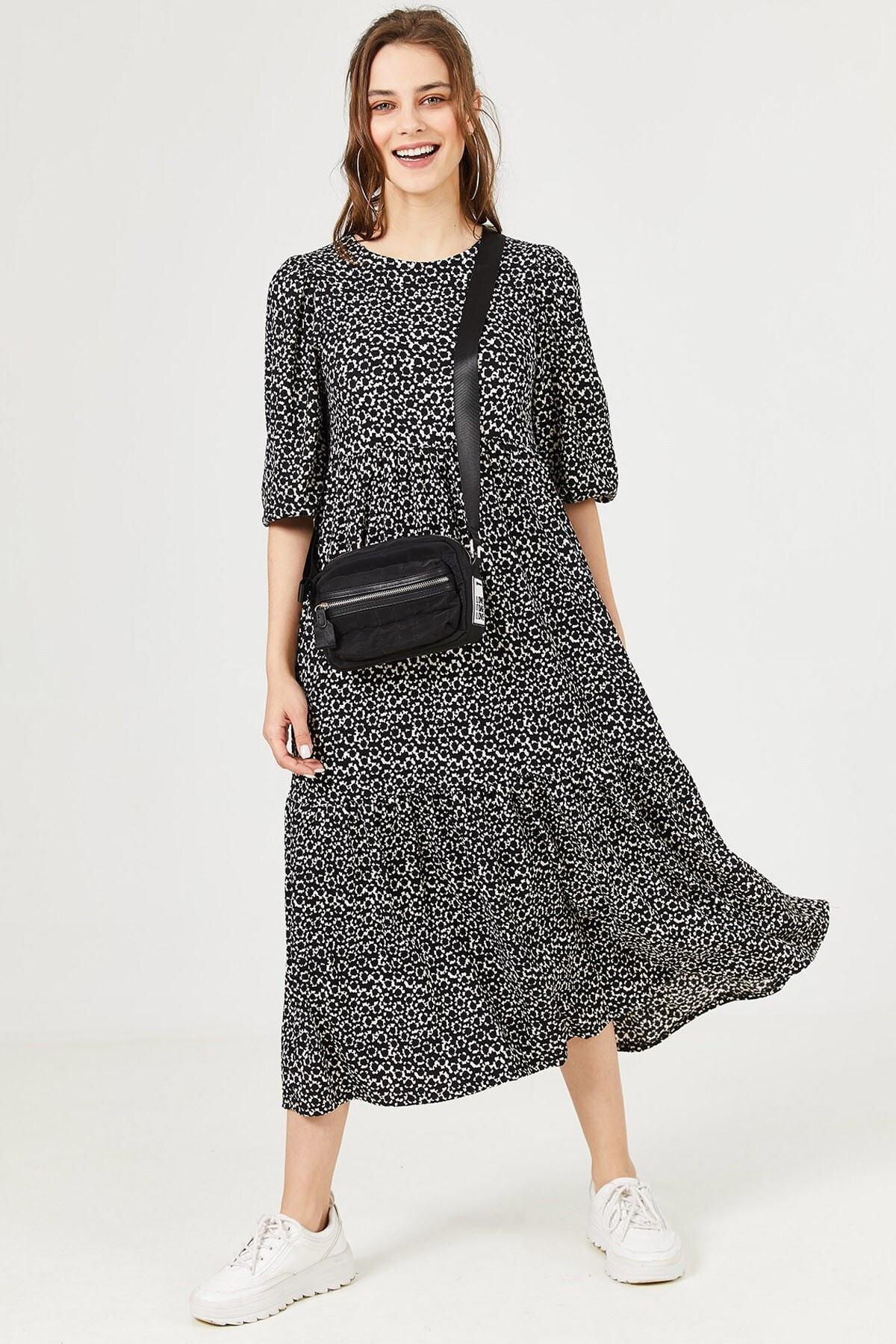 Loukai Kadın Siyah Dökümlü Günlük Elbise 1