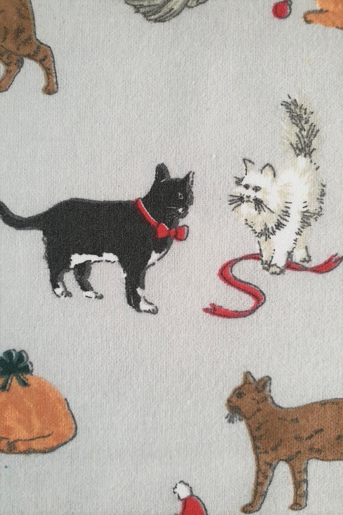 Maki Kediler Pamuk Flanel Pazen Çift Kişilik Nevresim ve 2 Yastık Kılıfı Seti  20 2