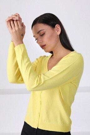 Ferraro Kadın Sarı V Yaka  Triko Hırka