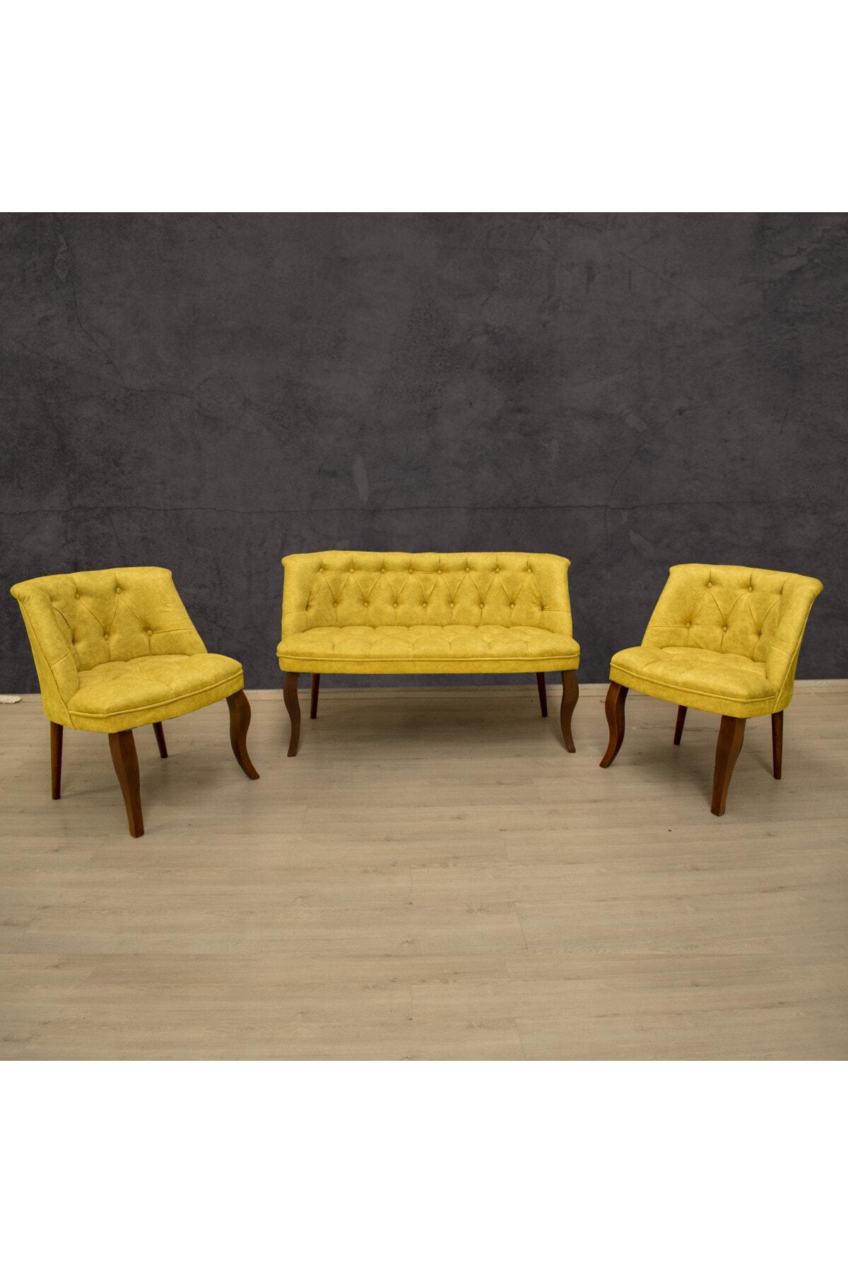 Royal Sarı Çay Seti Koltuk Takımı 2+1+1 Kahve Ayak 1