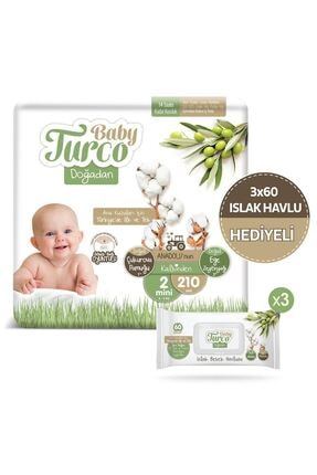 Baby Turco Doğadan 2 Numara Mini 210 Adet + 3x60 Doğadan Islak Havlu Hediyeli