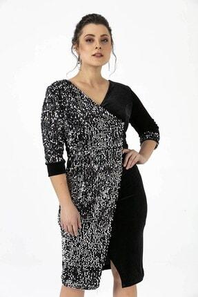 By Saygı Kadın Siyah Tek Yanı Pullu Gümüş Büyük Beden Likra Kadife Elbise