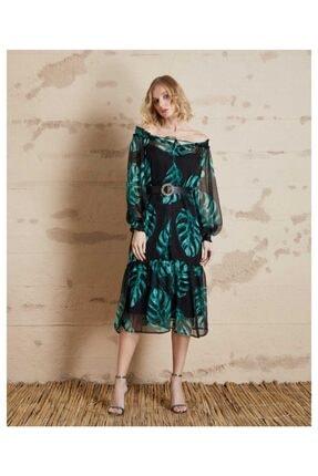 SERPİL Kadın Siyah Yeşil Yaprak Desenli Elbise 20y0432149
