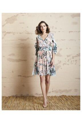 SERPİL Kadın Pembe Volanlı Çiçek Desenli Elbise 20y0432759