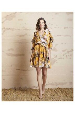 SERPİL Kadın Sarı Volanlı Çiçek Desenli Elbise 20y0432759