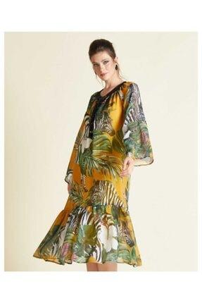 SERPİL Kadın Sarı Çiçek Desenli Elbise 20y0432114
