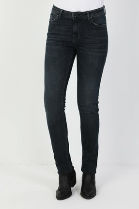 Colin's KADIN 703 Carla Orta Bel Düz Paça Slim Fit Koyu Mavi Kadın Jean Pantolon CL1047006