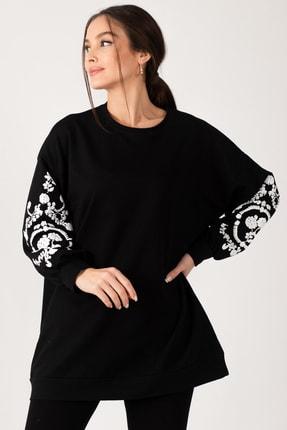armonika Kadın Siyah Yuvarlak Yaka Kolu Kabartmalı Sweatshirt ARM-21K024033