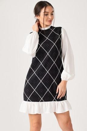 armonika Kadın Füme Yakası Ve Altı Fırfırlı Desenli Elbise ARM-21K001041