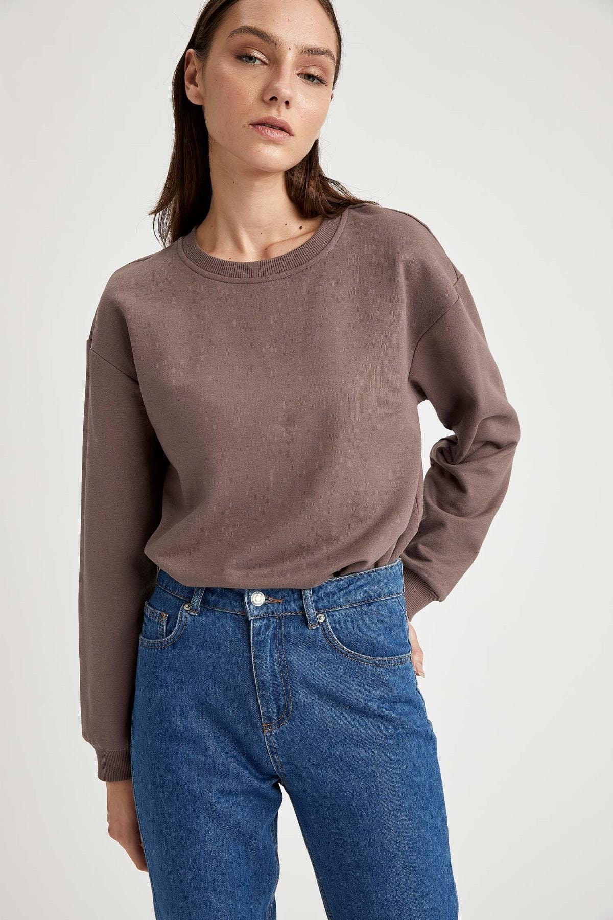 DeFacto Yarım Düşük Omuz Sweatshirt