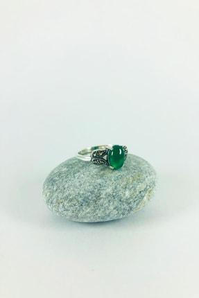 Sungurbey Gümüş Dünyası Yeşil Akik Ve Markazit Taşlı Gümüş Bayan Yüzük