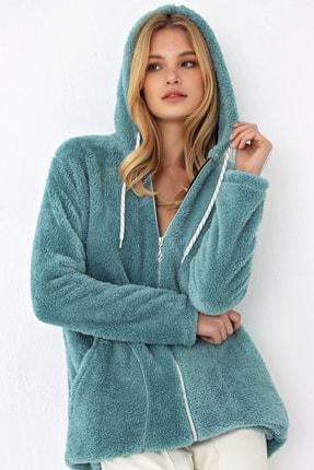 Trend Alaçatı Stili Kadın Mint Kapşonlu Çift Cep Peluş Ceket