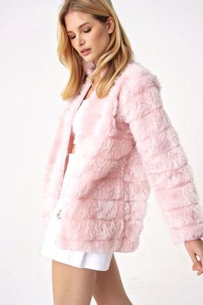 Trend Alaçatı Stili Kadın Pudra Peluş Suni Kürk Ceket