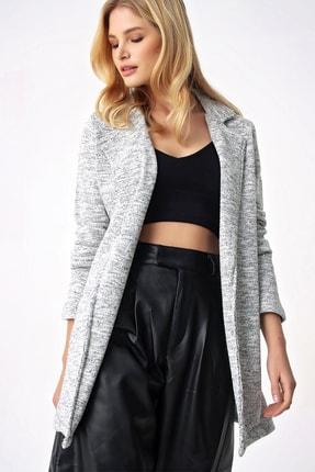 Trend Alaçatı Stili Kadın Grimelanj Kırçıllı Örme Ceket