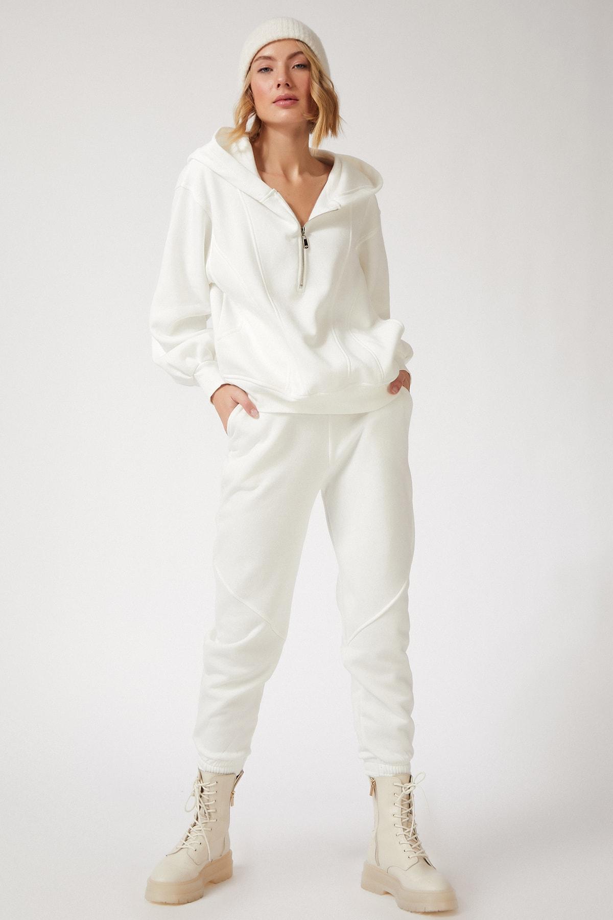 Happiness İst. Kadın Beyaz Fermuarlı Dökümlü Premium Polarlı Eşofman Takımı BP00055 1
