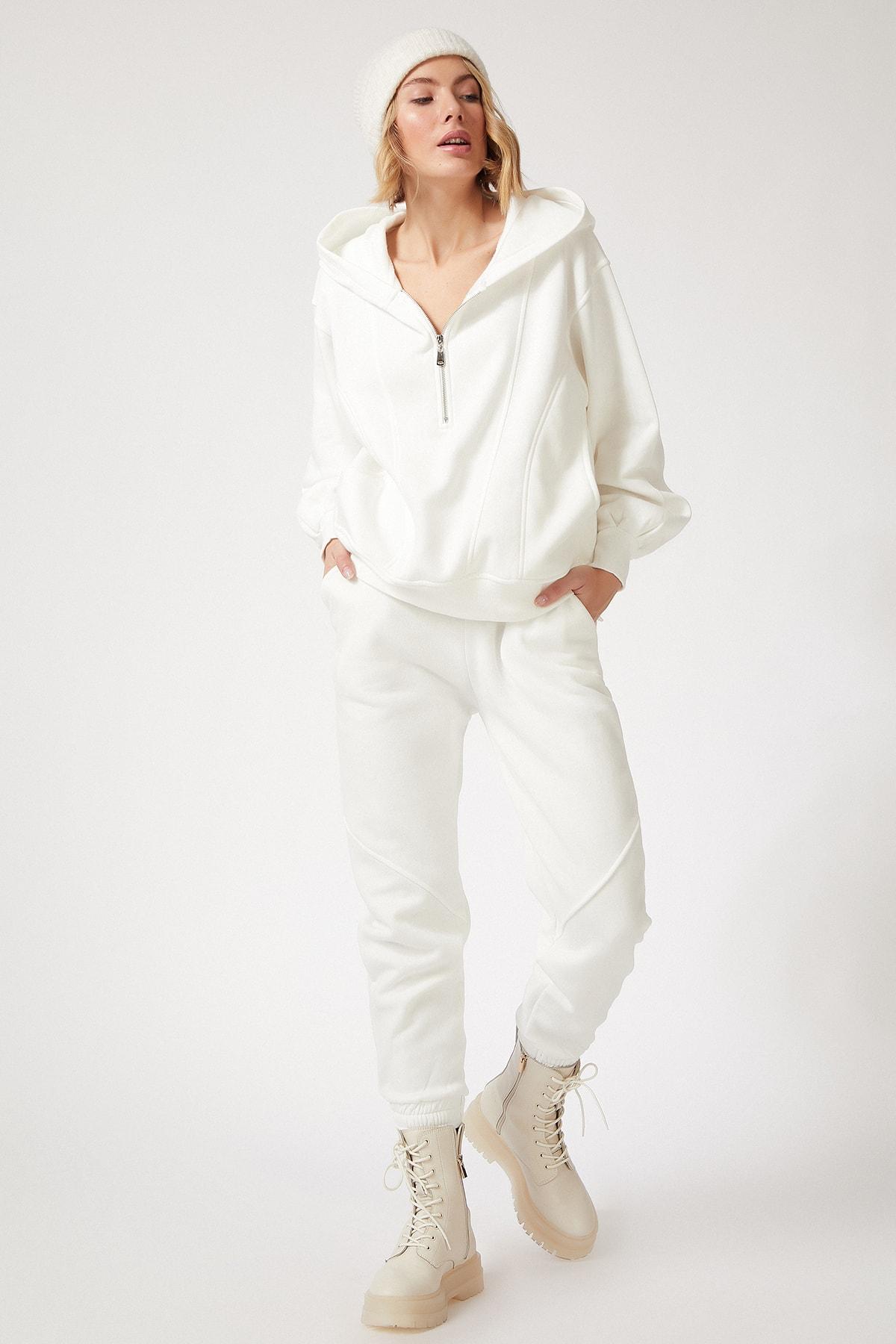 Happiness İst. Kadın Beyaz Fermuarlı Dökümlü Premium Polarlı Eşofman Takımı BP00055 2