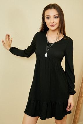 Sateen Kadın Siyah Eteği Volanlı Kısa Elbise