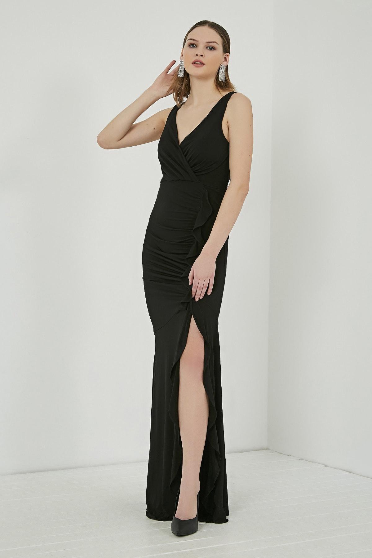 Sateen Kadın Siyah Fırfırlı Yırtmaçlı Uzun Abiye Elbise  STN107KEL120 2