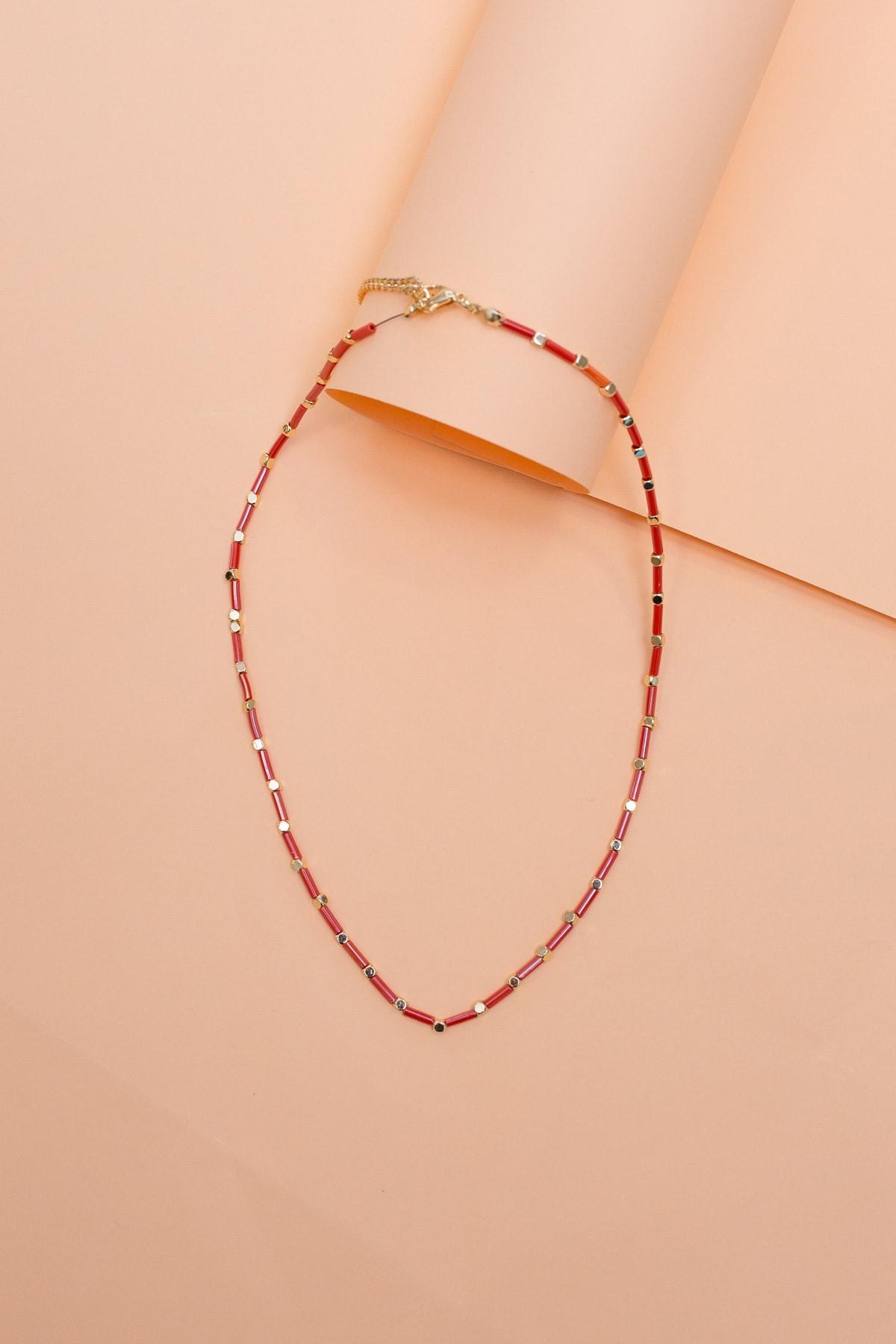Lafaba Kadın Kırmızı Boncuklu Kolye 2