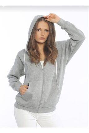 TREND Kadın Gri Fermuarlı Kapüşonlu Polar Sweatshirt