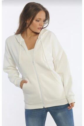 TREND Kadın Kapüşonlu Fermuarlı Sweatshirt