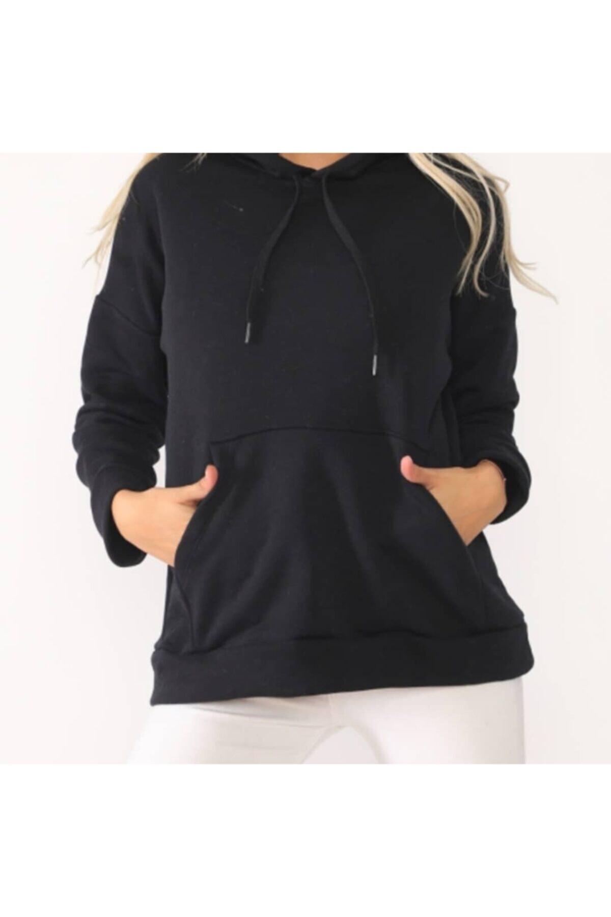 TREND Kadın Siyah Kapüşonlu Sweatshirt 2