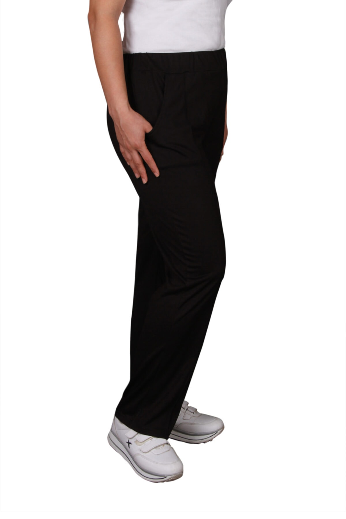 butikxxl Kadın Siyah Rahat  Beli Lastikli Sonbahar Kış Pantolon 2