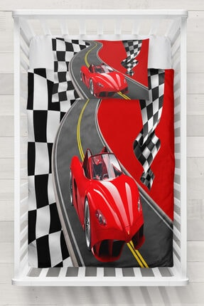 Else Halı Else Kırmızı Yarış Arabalı Bayraklı Yol 3d Desenli Bebek Nevresim Takımı