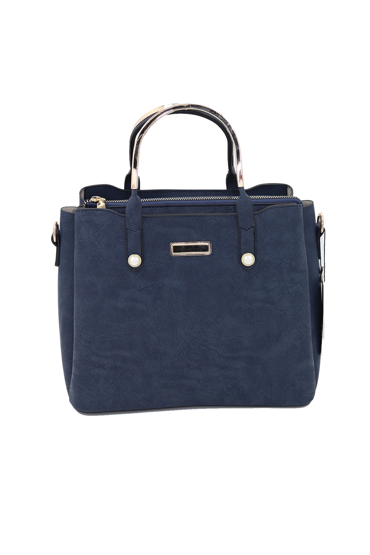 SheBella Bags & Shoes Cefalu Üç Bölmeli Inci Detaylı Metal Tutma Saplı Lacivert Renk Kadın Kol / Omuz Çantası 2