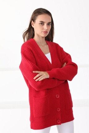 Ferraro Kadın Kırmızı Adda Yün Oversize  Triko Hırka