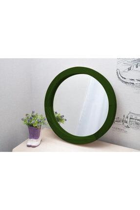 bluecape Doğal Ağaç Masif 30cm Yeşil Çerçeveli Antre Koridor Duvar Salon Banyo Ofis Çocuk Yatak Odası Ayna