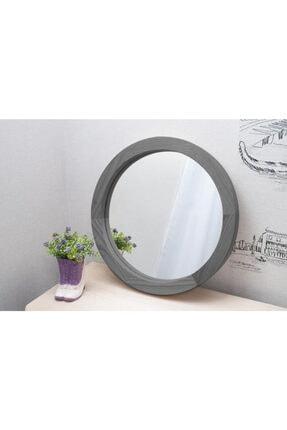 bluecape Doğal Ağaç Masif Gri Çerçeveli Antre Koridor Duvar Salon Banyo Ofis Çocuk Yatak Odası Aynası 30cm