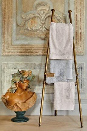 Karaca Home Eldora Simli Nakışlı Offwhite-gri Hamam Seti