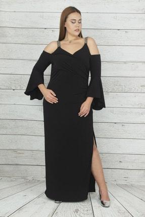 Şans Kadın Siyah Anvelop Yakalı Askısı Taşlı Omuz Dekolteli Yırtmaçlı Abiye Elbise 65N19947