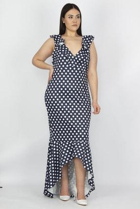 Şans Kadın Lacivert Puan Desenli Volan Detay Elbise 65N19930
