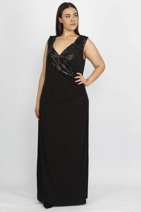Şans Kadın Siyah Payet Detaylı Anvelop Abiye Elbise 65N19893