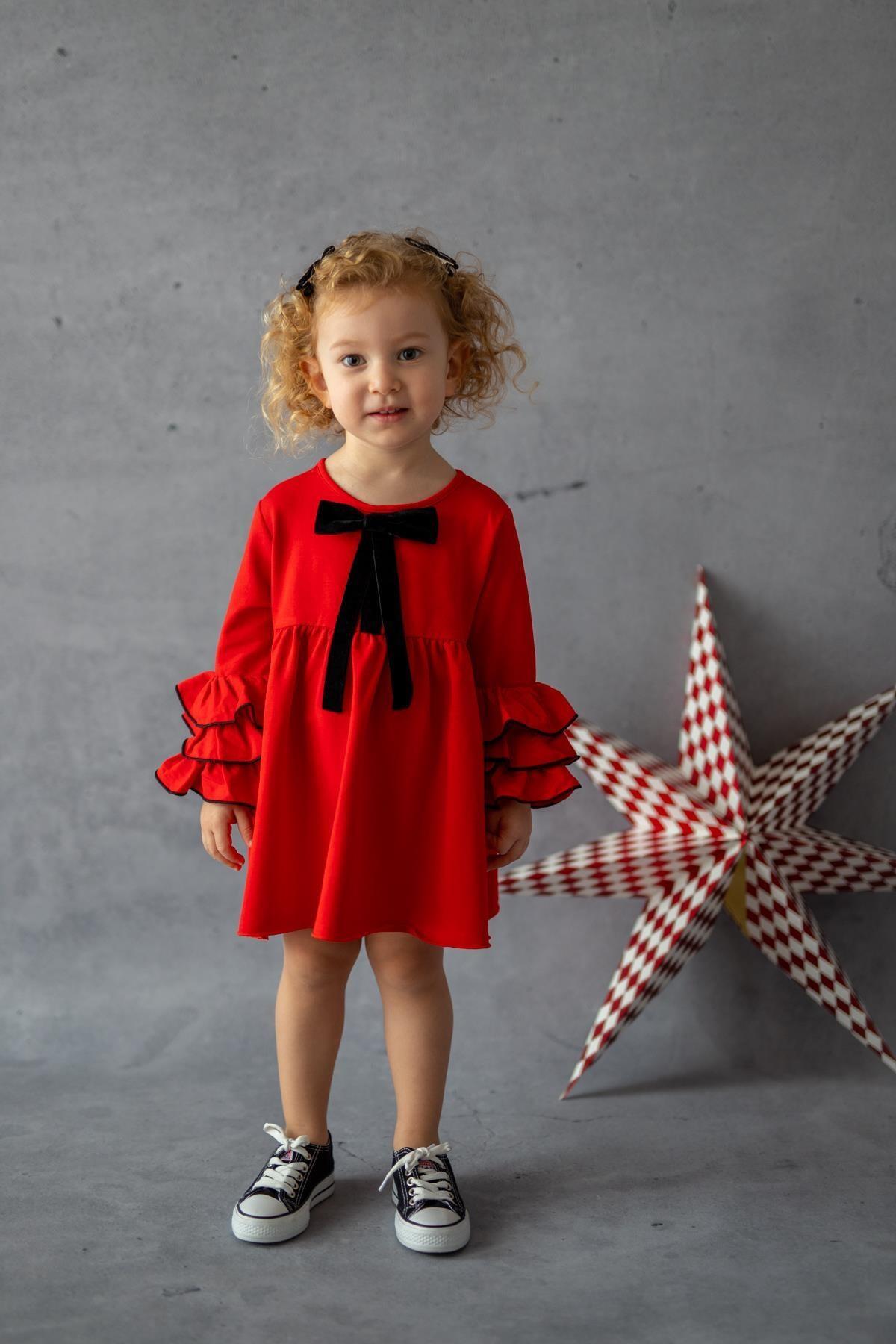 PixyLove Kırmızı Kız Çocuk Elbise Mini Miss