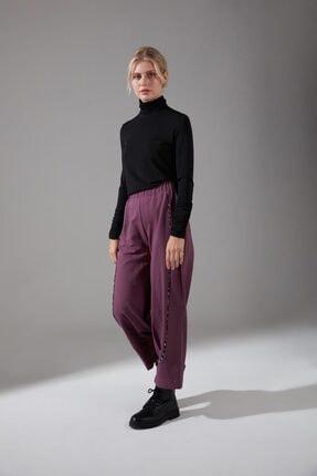 Mizalle Kadın Mor Biyesi Desenli Pantolon