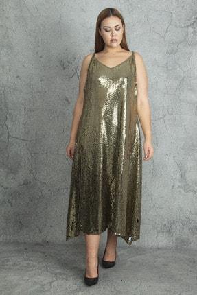 Şans Kadın Gold Askılı Payet Elbise 65N20084