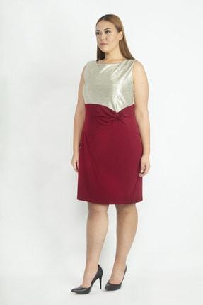 Şans Kadın Gold Üst Kısmı Dore Ön Detaylı Abiye Elbise 65N20085