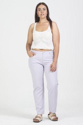 Şans Kadın Lila Pamuklu Kumaş 5 Cep Pantolon 65N19090