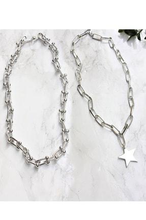 X-Lady Accessories Gümüş Kaplama Ikili Kombin Kolye Yıldız Kolye Ve Blanca Tiffany Kolye