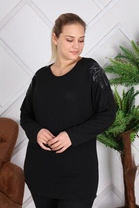 RMG Kadın Siyah Kol Aplike Detaylı Taş İşlemeli Büyük Beden Bluz