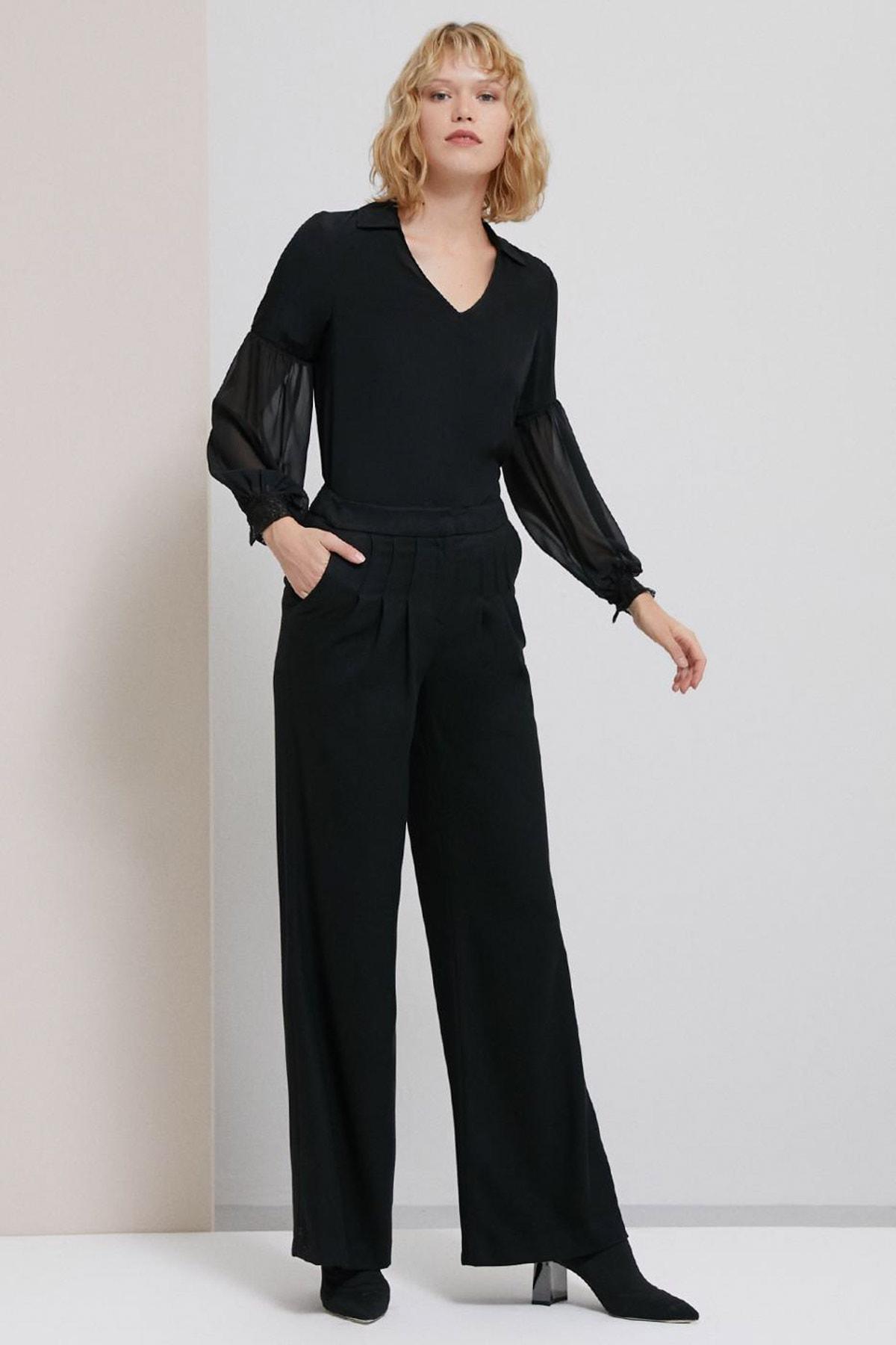 Perspective Kadın Siyah Caliana Pens Detaylı Bol Kesim Siyah Pantolon 2