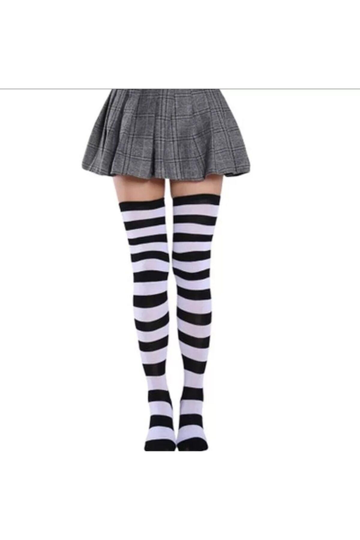 Cindiy Siyah Beyaz Çizgili Diz Üstü Çorap 1