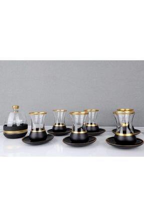 Glassya Siyah Gold Şeritli Çay Bardak Takımı Ve Şekerlik 13 Parça